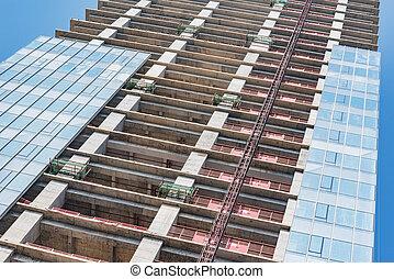 construction, bâtiment, logement, time., vue extérieure