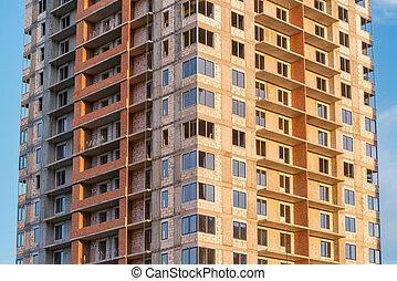 construction., bâtiment, vue, logement