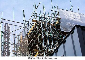 construction bâtiments, échafaudage, extérieur, site