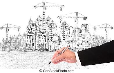 construction bâtiments, écriture main
