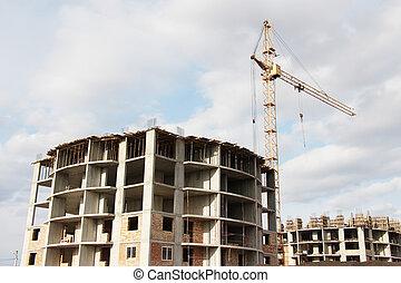 construction bâtiments, appartement, site