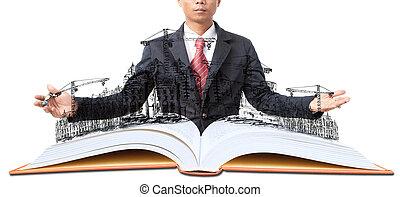 construction bâtiments, blanc, livre ouvert, homme
