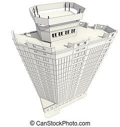 construction bâtiments, bureau, 3d