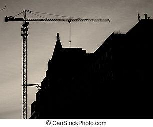 construction bâtiments, coucher soleil