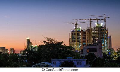 construction bâtiments, crépuscule, site, temps