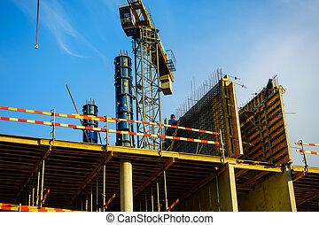 construction bâtiments, ensoleillé, site, jour