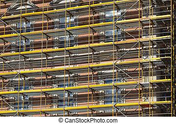 construction bâtiments, façade, cadre, échafaudage