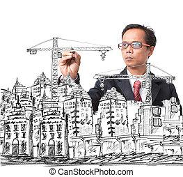 construction bâtiments, moderne, dessin, homme