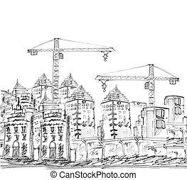 construction bâtiments, moderne, esquisser