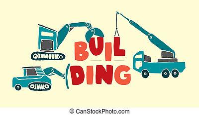 construction bâtiments, mot, véhicules