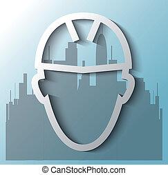 construction bâtiments, ouvrier, fond, illustration