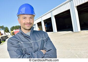 construction bâtiments, ouvrier, site, heureux