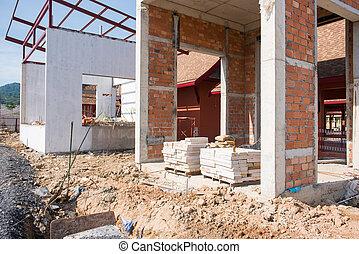 construction bâtiments, ouvrier, site, vue