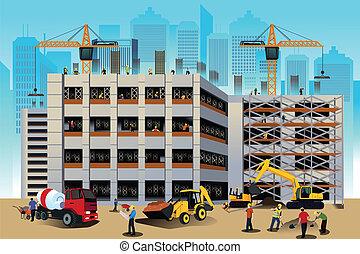 construction bâtiments, scène