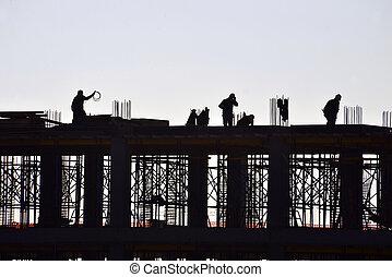 construction bâtiments, silhouette, gens fonctionnement