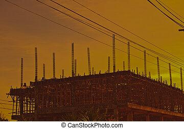 construction bâtiments, silhouette, site