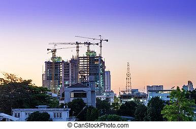 construction bâtiments, site, crépuscule