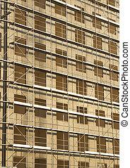 construction bâtiments, site, vertical, vue