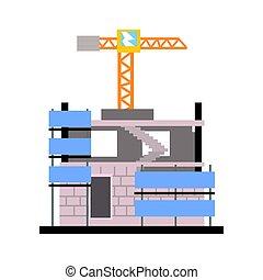 construction bâtiments, vecteur, moderne, illustration