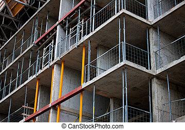 construction bâtiments, vue, sous