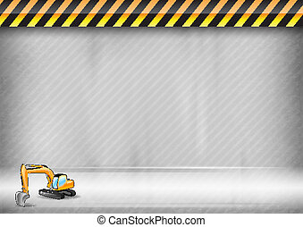 construction background - digger on the abstract background