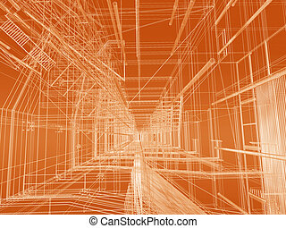 Construction background - Modern building geometry wire mesh