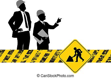 construction background - people on a construction...