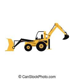 Construction backhoe vehicle isolated vector illustration...