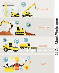 Construction Banner Concept Set - Earthworks, Highway,...