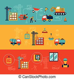 Construction building structures infographics flat banners set of walls panels and window panes installation abstract vector illustration