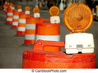Construction Barrels - Road construction barrels to detour ...