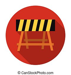 Construction barricade icon in flat style isolated on white background. Build and repair symbol stock vector illustration.