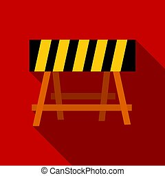 Construction barricade icon in flate style isolated on white background. Build and repair symbol stock vector illustration.