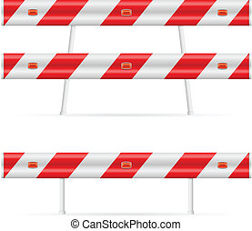 Construction barricade - road block. Illustration on white...