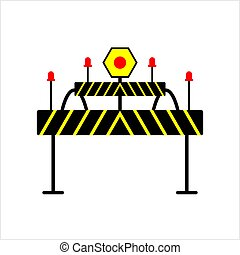 Construction Barrier Icon, Roadblock Barrier Icon Vector Art...