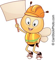 Construction Bee Mascot Board Illustration