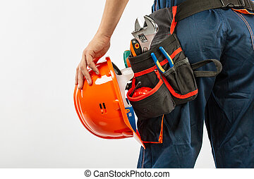 Construction belt on a man with diary notebook a pen tool belt builder pattern isolated on a white background