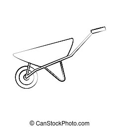 Construction black-and-white icon of a manual one-wheeled trolley with one wheel designed for carrying heavy loads, building materials for repair. Construction tool. Vector illustration