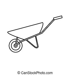 Construction black-and-white icon of a manual one-wheeled trolley with one wheel designed for carrying heavy loads, building materials for repair. Construction tool. Vector