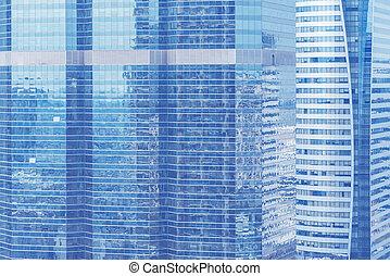 construction bleu, art, work., business, image, texte, résumé, moderne, élevé, message., ajouter, conception, fond, fenêtre, city., toile de fond, lunettes