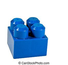 construction bleu, bloc, plastique
