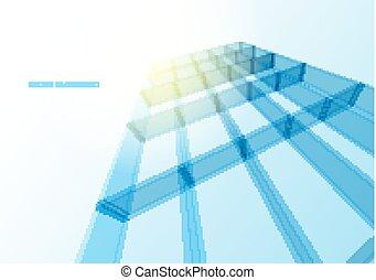 construction bleu, bureau, mur, moderne, verre