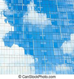 construction bleu, ciel, reflet, bureau