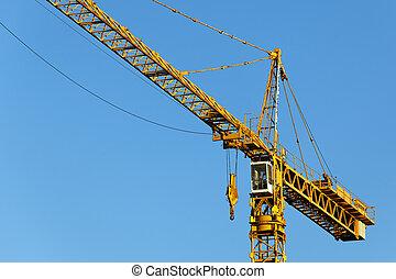 construction bleu, ciel, site, grue jaune