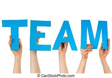 construction bleu, lettres, mains, tenue, équipe