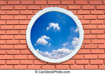 Toit Maison Brique Retro Ciel Bleu Voute Fenetre Rond Toit Maison Ronde Batiment Brique Retro Arriere Plan Bleu