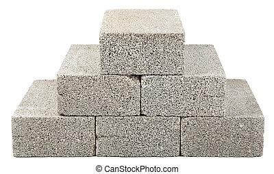 Construction Blocks Pyramid - Six gray concrete construction...