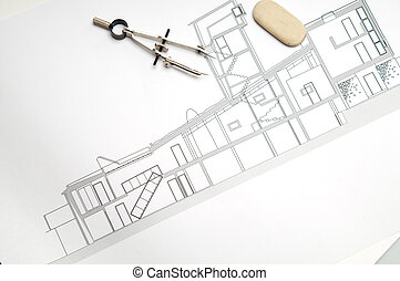Home construction blueprint 3d concept and presentation stock construction blueprint architecture blueprint tools malvernweather Gallery