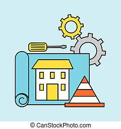 construction blueprint house traffic cone screwdriver and gear