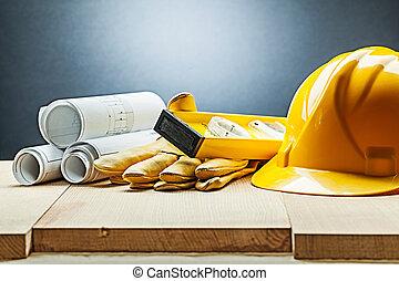 construction blueprints gloves level helmet